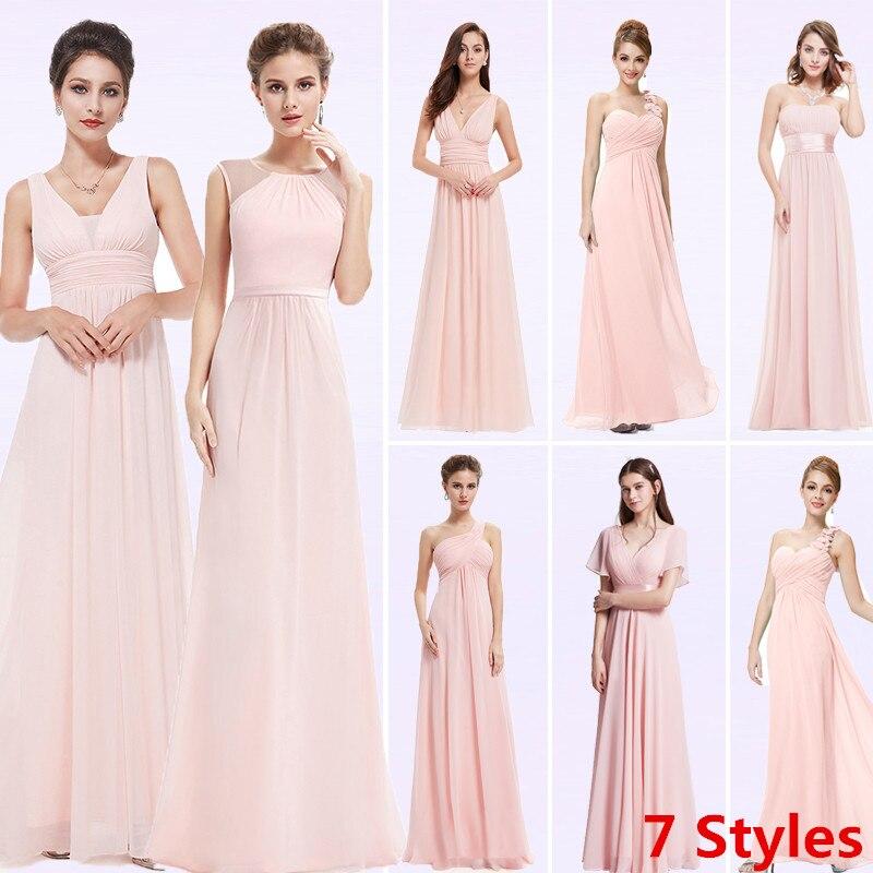Plus Size Cheap Long Chiffon Blush Pink Bridesmaid Dresses 2019 A-Line Vestido De Festa De Casamen Formal Party Prom Dresses
