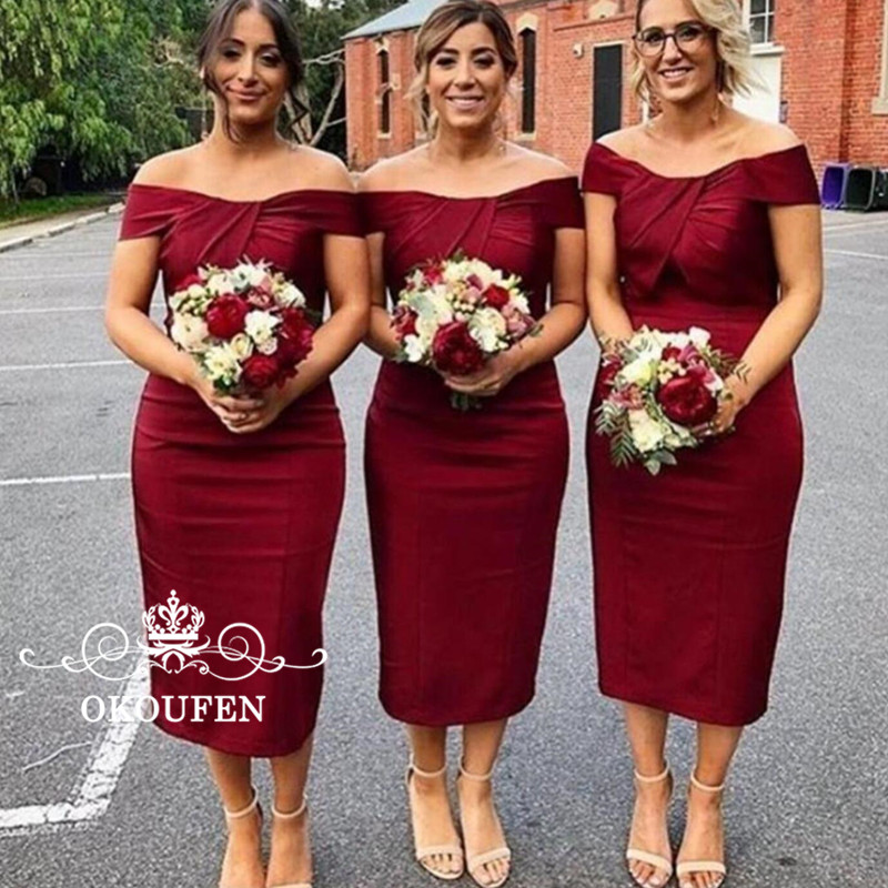 Tea Length Burgundy   Bridesmaid     Dresses   Pleat Boat Neck For Women 2018 Lace Up Back Sheath Maid Of Honor   Dress   Party Wedding Gown