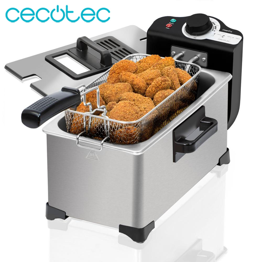 Cecotec CleanFry 3L Electric Fryer 3L 2000W Stainless Steel OilClean Filter Adjustable Temperature And Overheat Protection