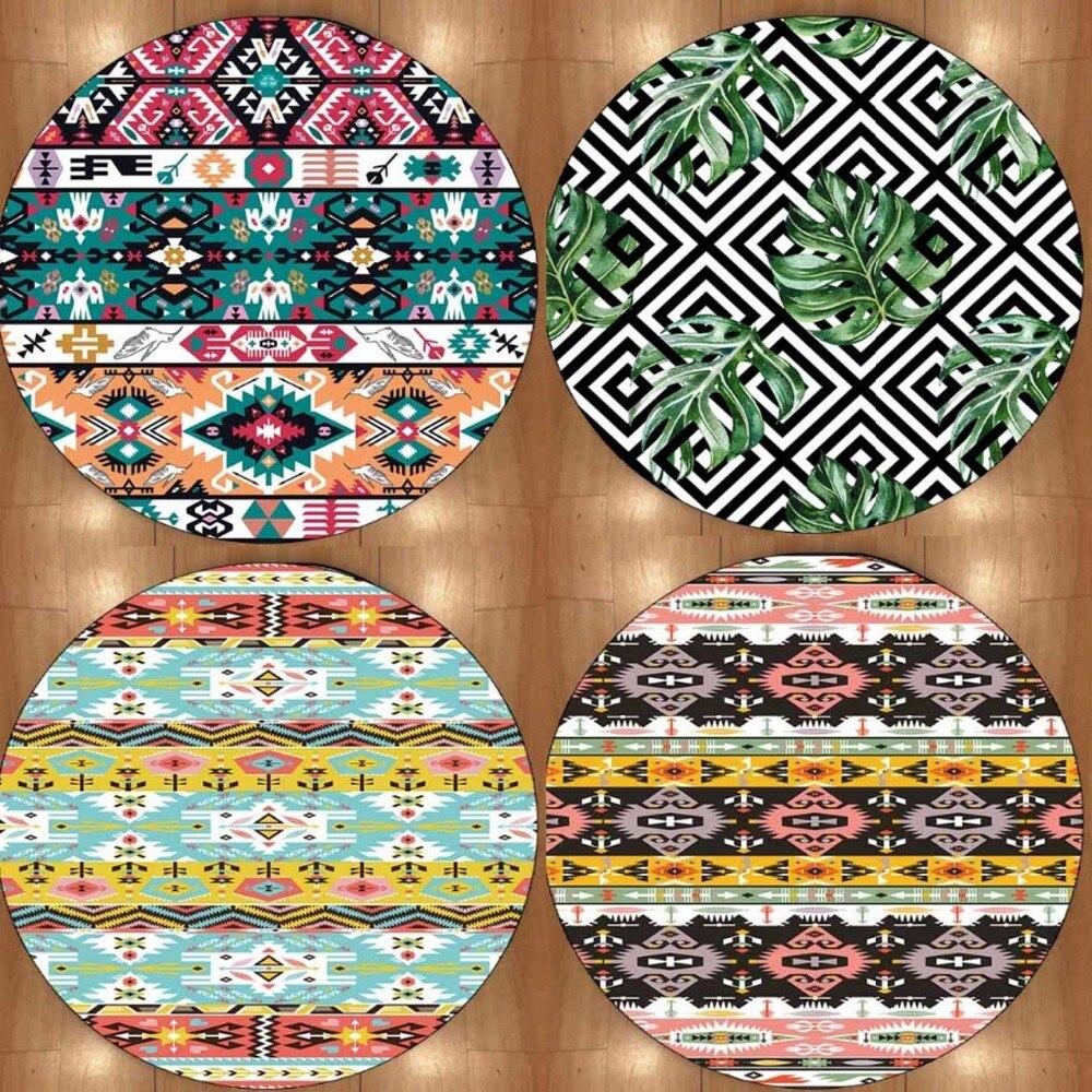 Else Aztec Vinrage Color Geometric 3d Print Non Slip Microfiber Round Carpets Area Rug For Living Rooms Kitchen Bedroom Bathroom