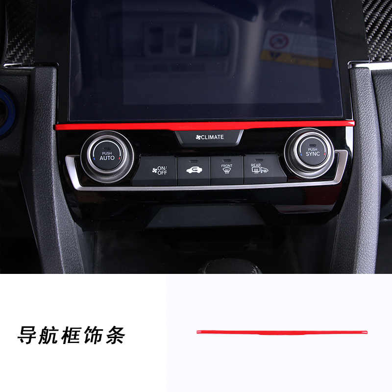 Car screen trims Interior decoration strip for honda civic 2016 2017 2018 10th civic car styling car Accessory