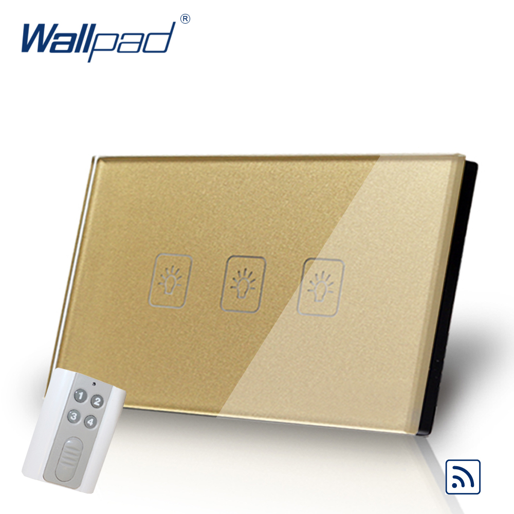 Wireless 3 Gang 1 Way 118*72mm AU US Wallpad Gold Tempered Glass 3 Gang Remote Control Wall Switch Inc Controller Free Shipping 3 gang 1 way 118 72mm wallpad white glass touch wall switch panel led 110v 250v au us switching power supply free shipping