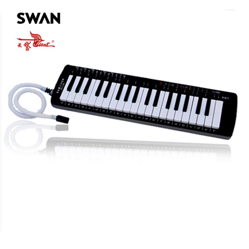 Swan 37 Keys Teaching Music-fundamentals Mouth Organ Melodica Black Color Keyboard Musical Instruments Accordion Tool Accessory russian keyboard keys letters sticker black