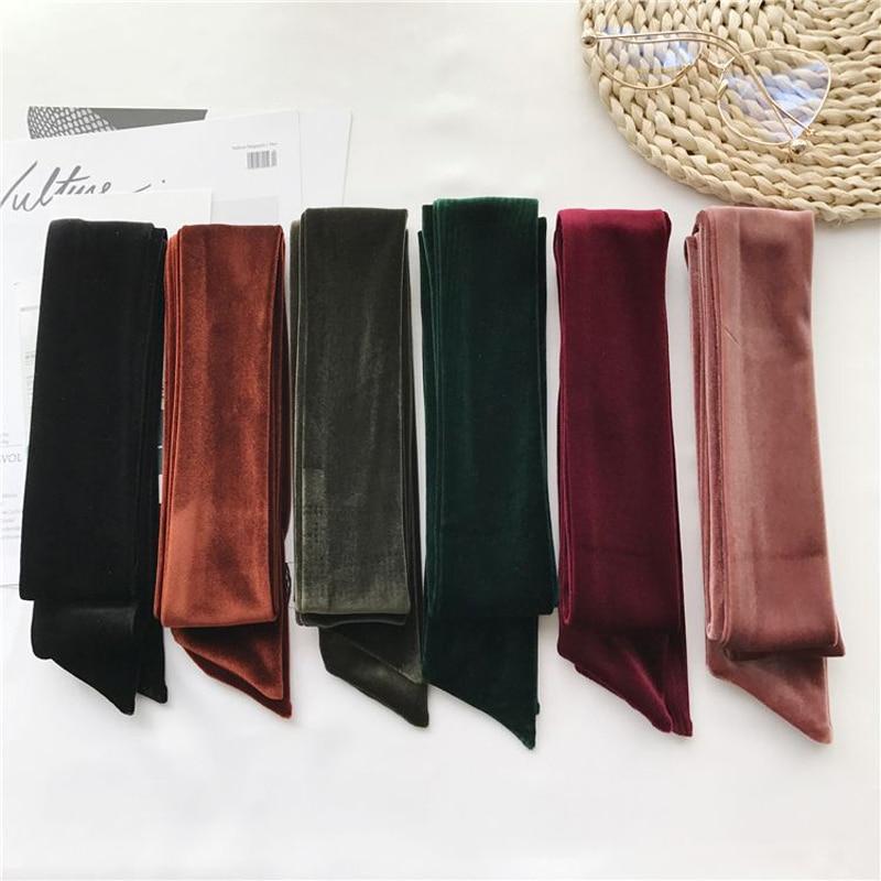 Luna&Dolphin Women Long Scarf 200x6cm Opulent Velvet Ribbon Caramel Black Sexy Tie Scarves Belt Vintage Headbands Lady Choker