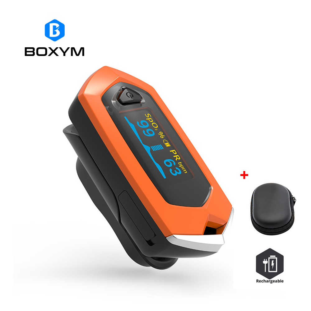 BOXYM Medical Rechargeable Finger Pulse Oximeter OLED blood oxygen Heart Rate Monitor Oximetro De Dedo SpO2 Pulsioximetro boxym medical rechargeable finger pulse oximeter oled blood oxygen heart rate monitor oximetro de dedo spo2 pulsioximetro