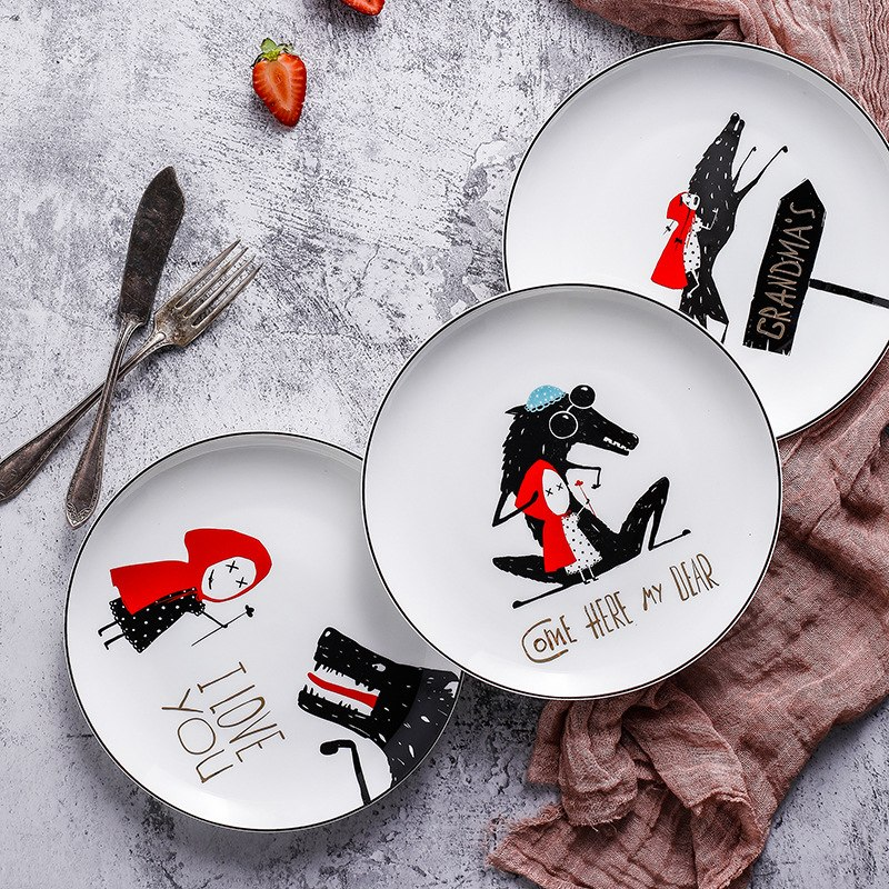 4 шт. черный край костяного фарфора тарелка керамическая 8 дюймов маленькая красная шляпа тарелка посуда ужин набор стейк тарелка Dim Sum обеде...