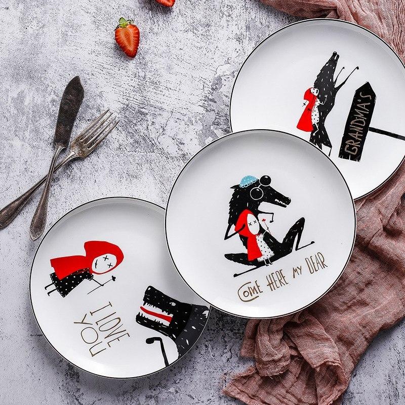 Assiette en porcelaine céramique 8 pouces | 4 pièces, bord noir de l'os, petit chapeau rouge, service de table assiette à Steak, assiette à dîner Dim Sum