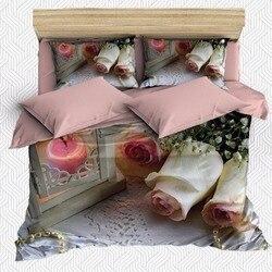 Innego 6 sztuk różowa świeca róże kwiaty kwiatowy koronki 3D druku bawełna satynowa podwójna poszewka na kołdrę zestaw poszewka na poduszkę łóżko arkusz w Kołdra od Dom i ogród na
