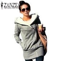 ZANZEA Women Hoodies Sweatshirt Coats 2017 Autumn Winter Casual Long Coat Pockets Zip Up Outerwear Hooded