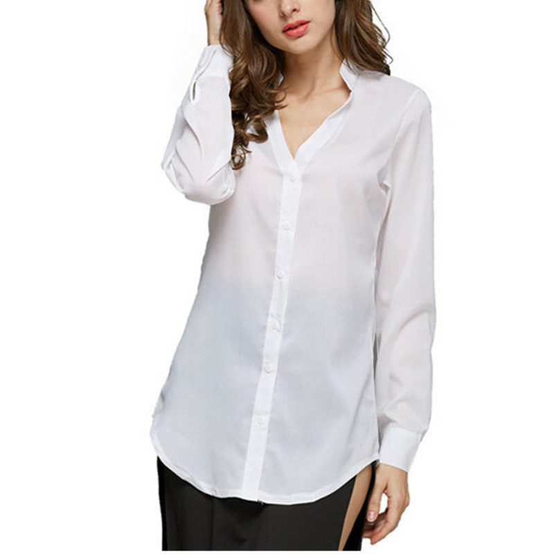 2018 Spring Women Chiffon Blouses Long Sleeve Causal Blouse Shirt Simple Design Elegant  ...