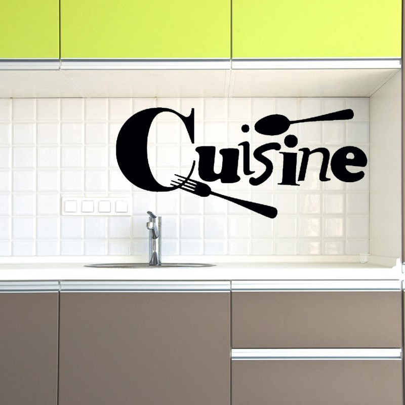 Cuisine Vinyl Wall Stickers French Wallpaper Mural Art Fork Spoon Black  Sticker Kitchen Wall Decal Decoration Home Wall Covering