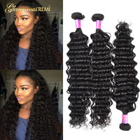 Peruvian Virgin Hair 3 Bundles Deep Wave Hair Extensions Unprocessed Human Hair Wave Natural Color Can Be Dyed and Bleached SALE