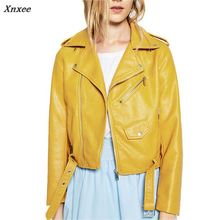 2018 New Fashion Female Biker Motorcycle Cropped Leather Jacket Women Pink Red Black Blue Brown Yellow Xnxee