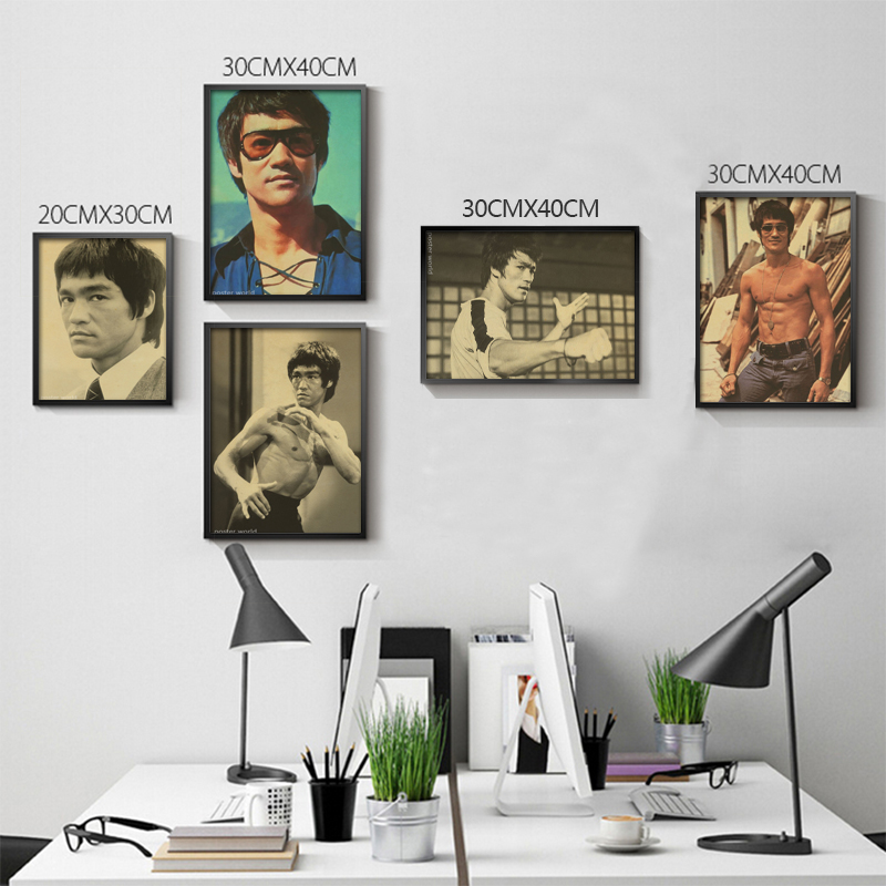 Vintage Classic Kung Fu Star Bruce Lee Series Movie Poster Retro Kraft Paper Bar Cafe Home Decor Painting Wall Sticker
