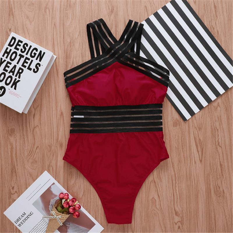 2020 Newest Women Swimsuits Sexy One Piece Swimwear For Women Beach High Neck Bandage Cross Back Female Brazilian Swimming Suit - swimwear