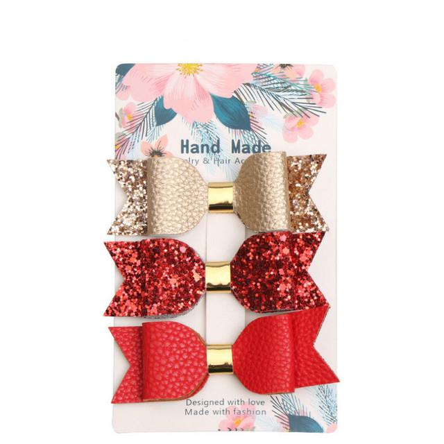 3pcs Mermaid Hair Bows Glitter Hair Clip Rose Gold Sparkly Leather Pretty Headband Hairpins Princess Party Headdress