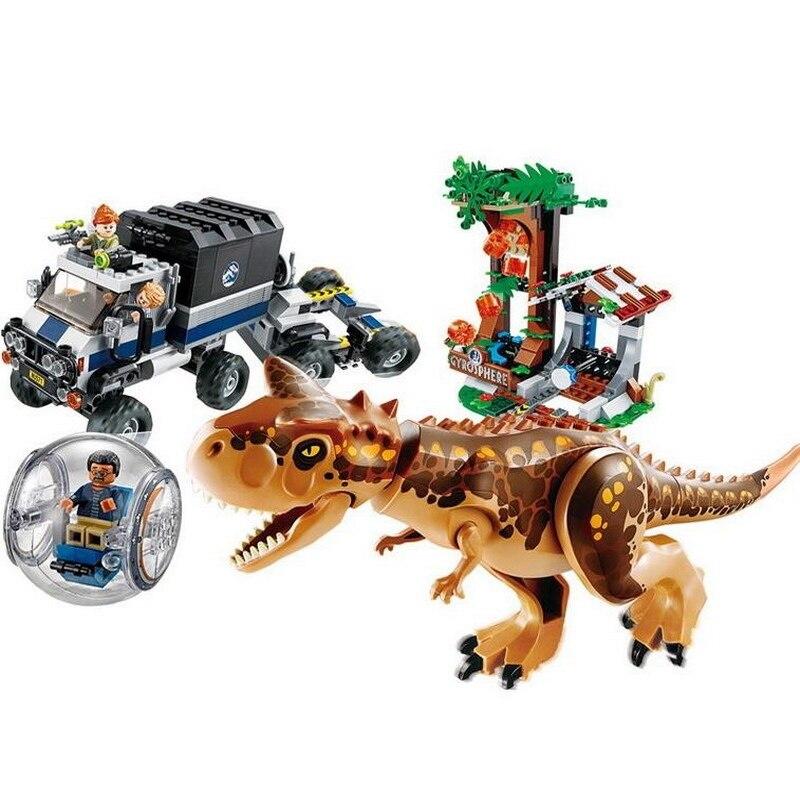 LELE Monde Jurassique Parc Carnotaurus Gyrosphere Évasion Modèle Building Blocks Éclairent Figure Jouets Pour Enfants Compatible Legoe
