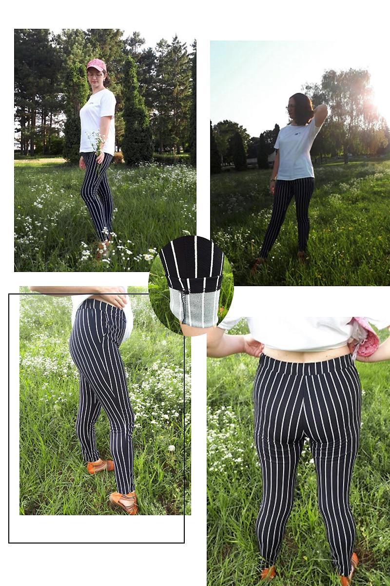 SHEIN Vertical Striped Skinny Pants Women Elastic Waist Pocket OL Style Work Trousers 18 Spring Mid Waist Long Pencil Pants 5
