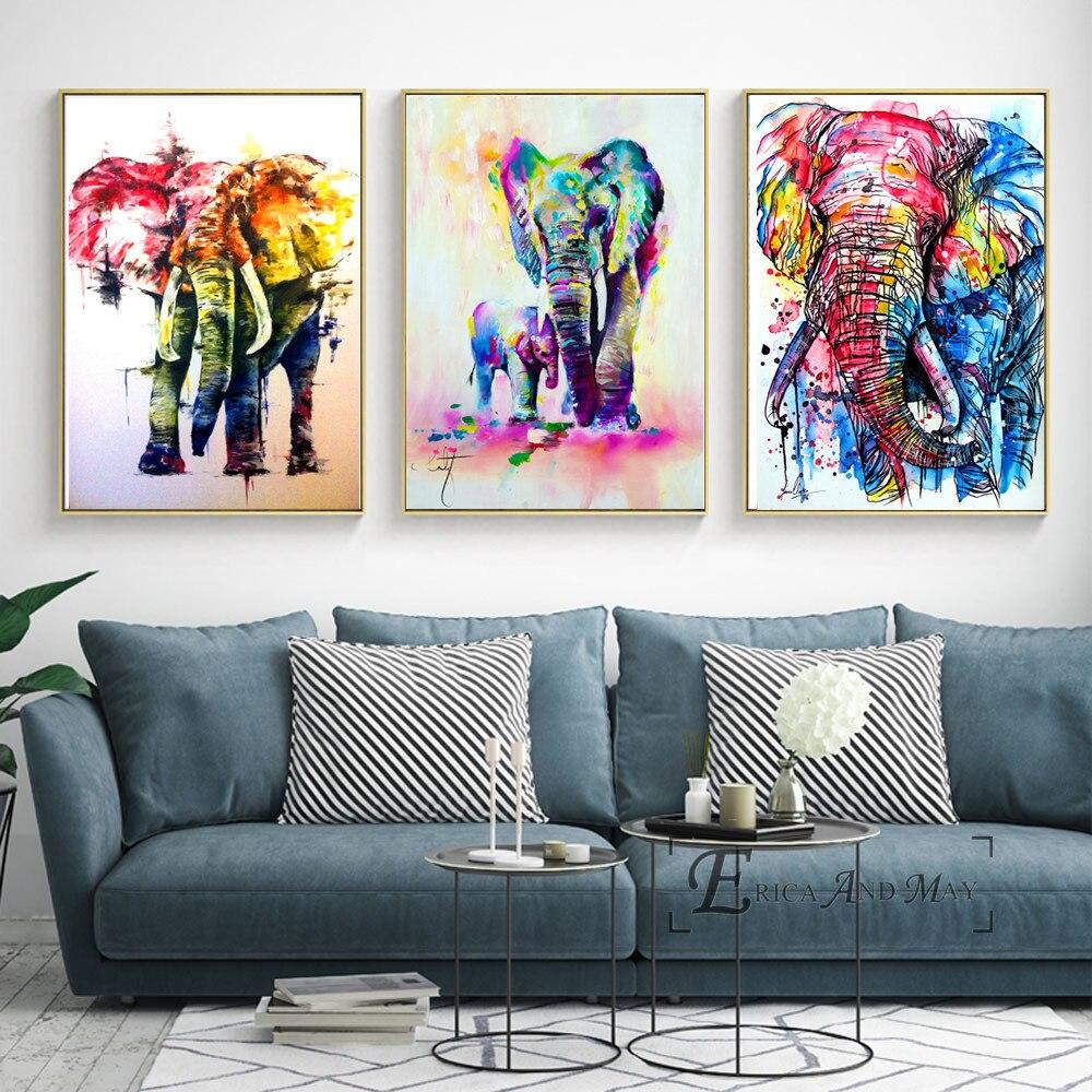 Слон ручная роспись животных холст для живописи Плакаты и принты для Гостиная не оформлена стены Книги по искусству изображение домашнего ...