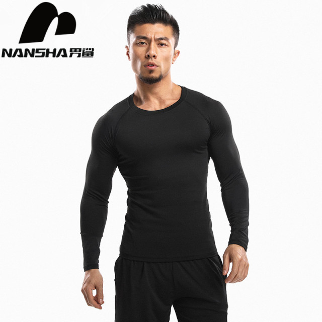 NANSHA New Mens Long Sleeve T-Shirts  Quick Dry Shirts Men Solid Breathable Tee Mens Compression Shirts Tight Tops