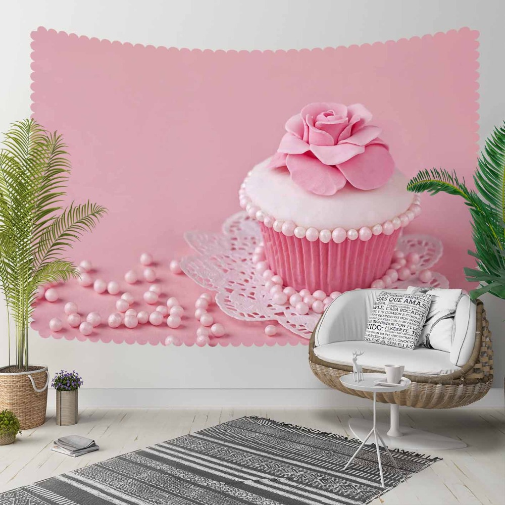 Else Pink Floor On Cup Cakes Roses Candy Sweet 3D Print Decorative Hippi Bohemian Wall Hanging Landscape Tapestry Wall Art