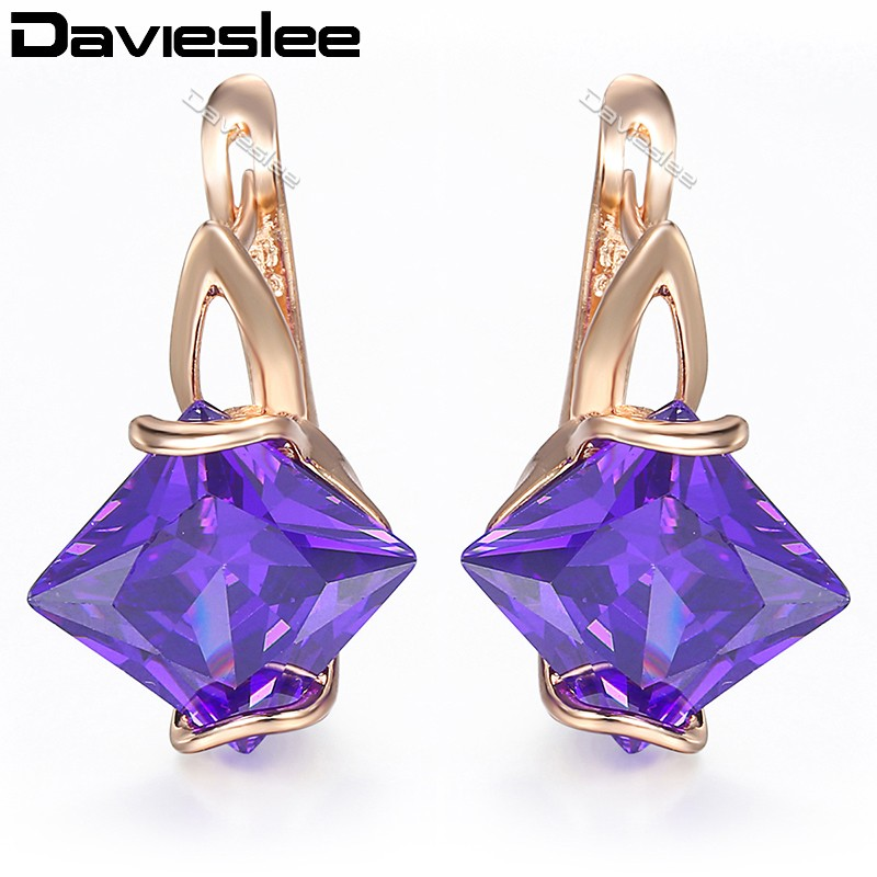 Davieslee Womens Lady Stud Earrings Square Purple CZ 585 Rose Gold Filled Snap Closure LGE80