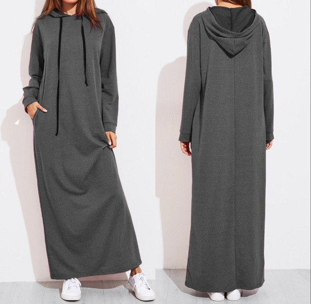 Celmia Plus Size Women Maxi Dress Autumn Hooded Dress Sweatshirt Female Long Sleeve Hoodies Winter Pullover Vestido Robe Femme 4
