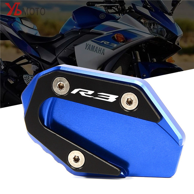 Picks items For YAMAHA YZFR3 YZF-R3 2015-2018 YZF-R25  Motorcycle Accessories Kickstand Sidestand Stand Extension Enlarger Pad