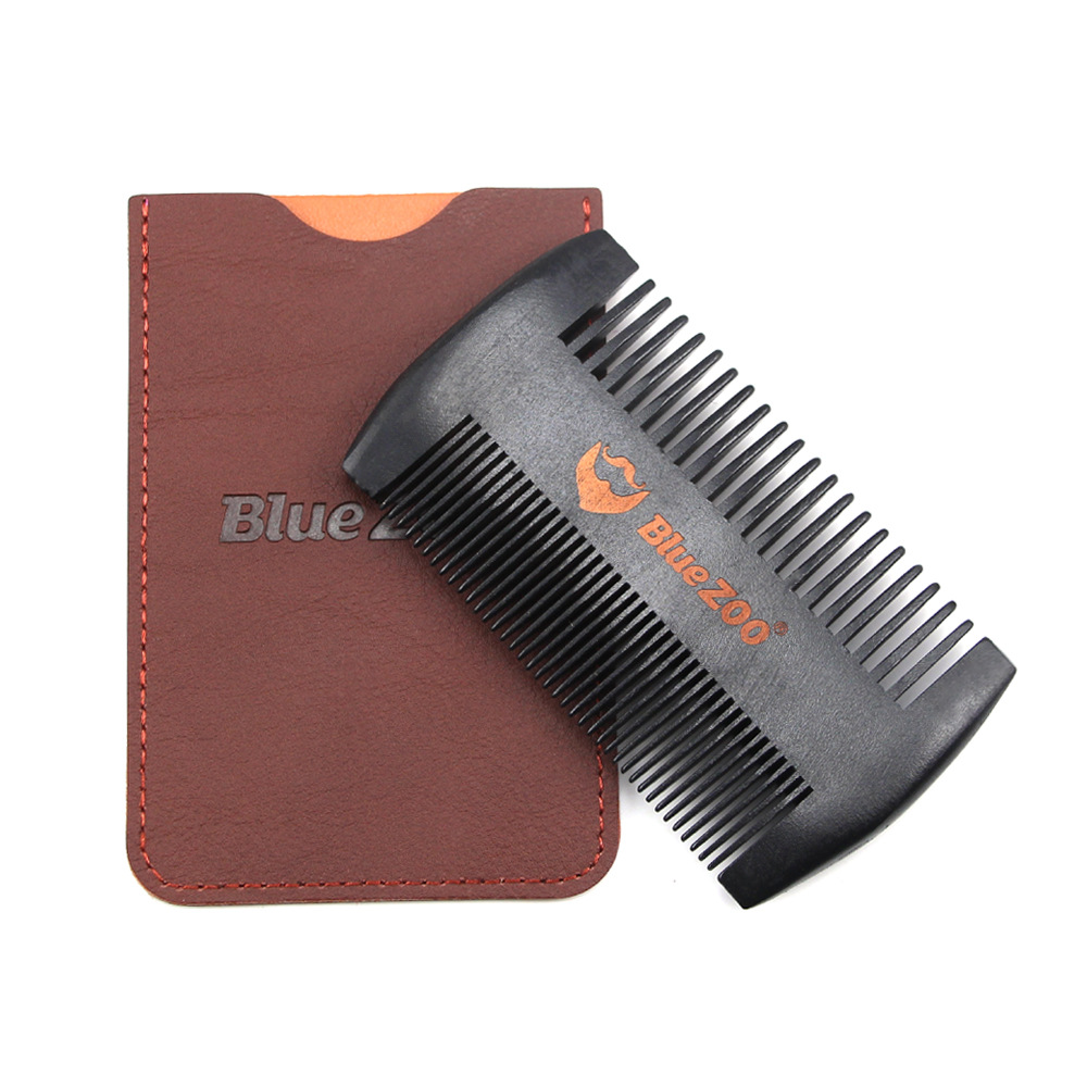 Black Wooden Comb Anti-Static Beard Comb Brush Mustaches Pocket Wood Comb Black and Brown Colors Protective Cover 4