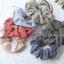 Fashion Girls Women stripe hair accessories Creative Chiffon small fresh flower seamless headband rubber band elastic bands