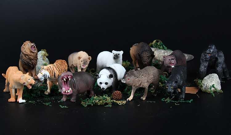 Novo 12 Pçs/set Plástico Figura Animal de Zoológico Panda Tigre Orangotango Ovelhas Lobo cães e Crianças Brinquedo Encantador Animal Set Brinquedos Melhor Presente Para As Crianças