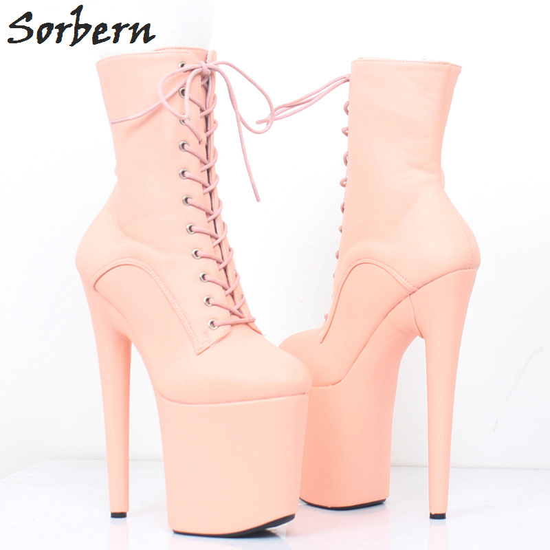 Sorbern Matt Extreme High Heel Ankle Boots Plus Size Sexy Fetish Shoes Ladies Booties 2018 Woman Runway Shoes Fenty Beauty Boots pupa extreme matt spf20