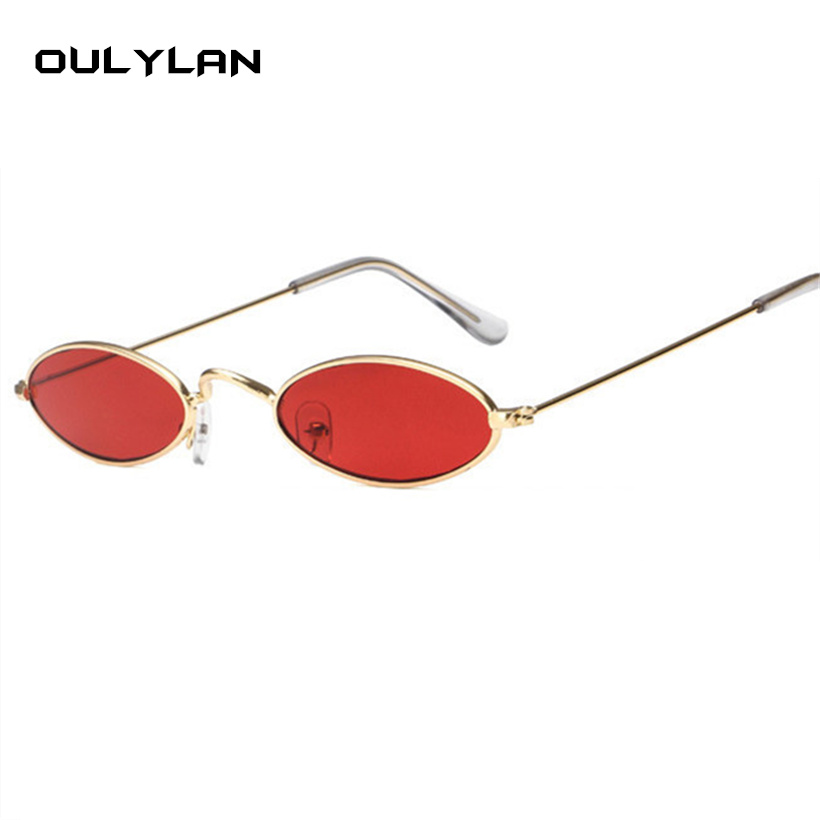 fecf14e407ad Oulylan Small Oval Sunglasses Men Women Retro Metal Frame Yellow Red Vintage  Tiny Round Skinny Male