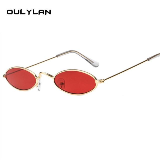 da5c6755f Oulylan Pequeno Oval óculos de Sol Das Mulheres Dos Homens de Armação De  Metal Retro Amarelo
