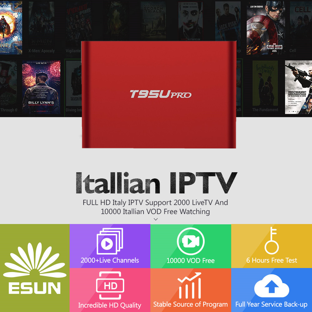 With 1 Year T95Up Italy IPTV2G/16G Amlogic s912 Italy IPTV EPG 4000+Live+VOD configured Europe Albania ex-yu XXX channels BOX крышка gastrorag c16