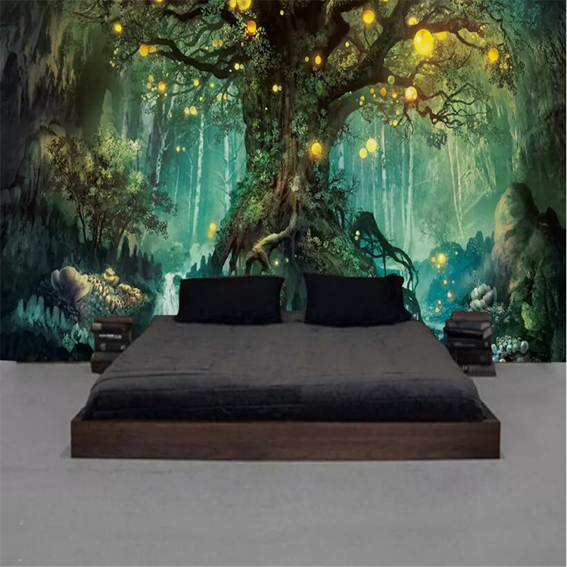 Fantasy Forest Wishing Tree Living Room TV Background Wall Professional Production Mural Wholesale Wallpaper Custom Photo Wall