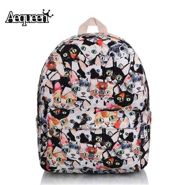 b4430aa43271 AEQUEEN Cute Cat Backpacks Canvas Schoolbags For Teenager Student Mochila  Traveling Daypack Women Shoulder Bookbag Girls Cartoon