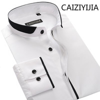 CAIZIYIJIA Men Mandarin Collar Silm fit Long Sleeve Dress Shirt Fashion Cotton Imported Clothing Solid Camisas Silm Masculina