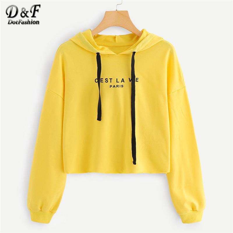 843ac14c23d Dotfashion Yellow Letter Drop Shoulder Drawstring Hoodie Crop Sweatshirt  Women Casual Autumn Hooded Long Sleeve Preppy Pullover