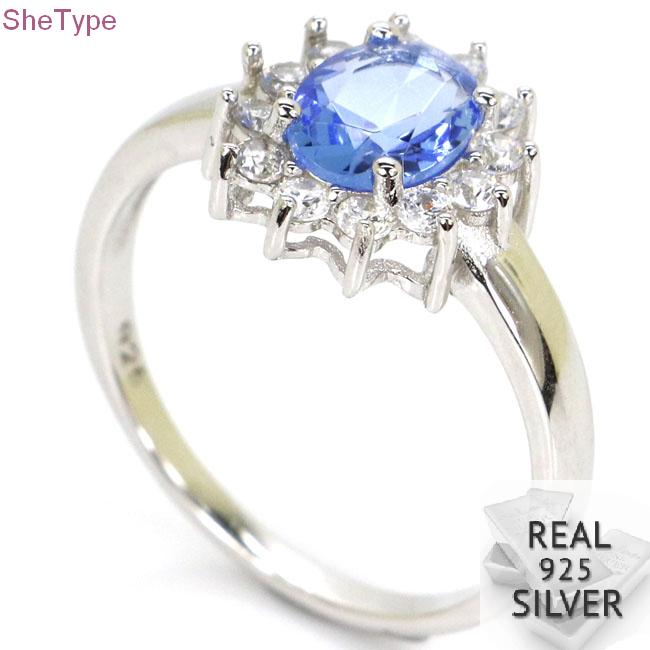 SheType 2.6g Rich Blue Violet Tanzanite White CZ Gift For Ladies Real 925 Solid Sterling Silver Ring 13x12mm
