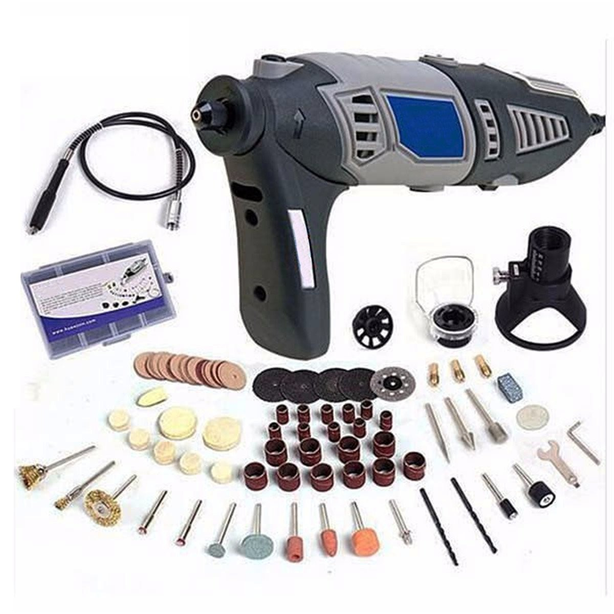 купить 220V 170W Variable Rotary Tool Electric Drill with Flexible Shaft and 91pcs Accessories Mini Grinder Power Tools по цене 2915.73 рублей