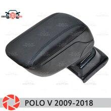Для Volkswagen Polo 2009-2018 автомобилей Подлокотник центральной консоли кожа коробка для хранения пепельница аксессуары Тюнинг автомобилей