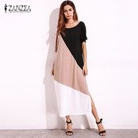2018 ZANZEA Women Summer Off Shoulder Half Sleeve Color Block Splice Casual Split Maxi Long Dress