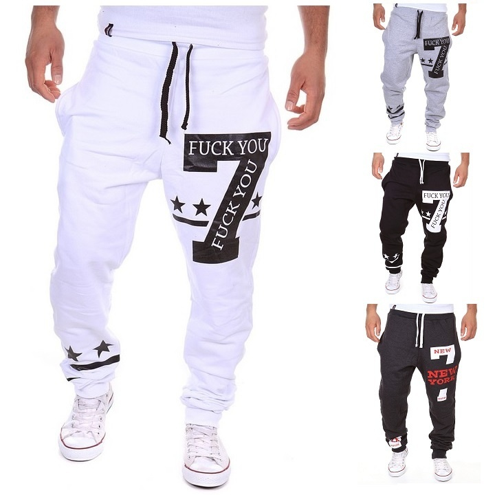 geek men's sports pants new korean casual letter printing