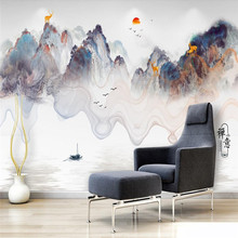 Chinese ink landscape waterfall TV background wall professional production wallpaper mural photo factory wholesale