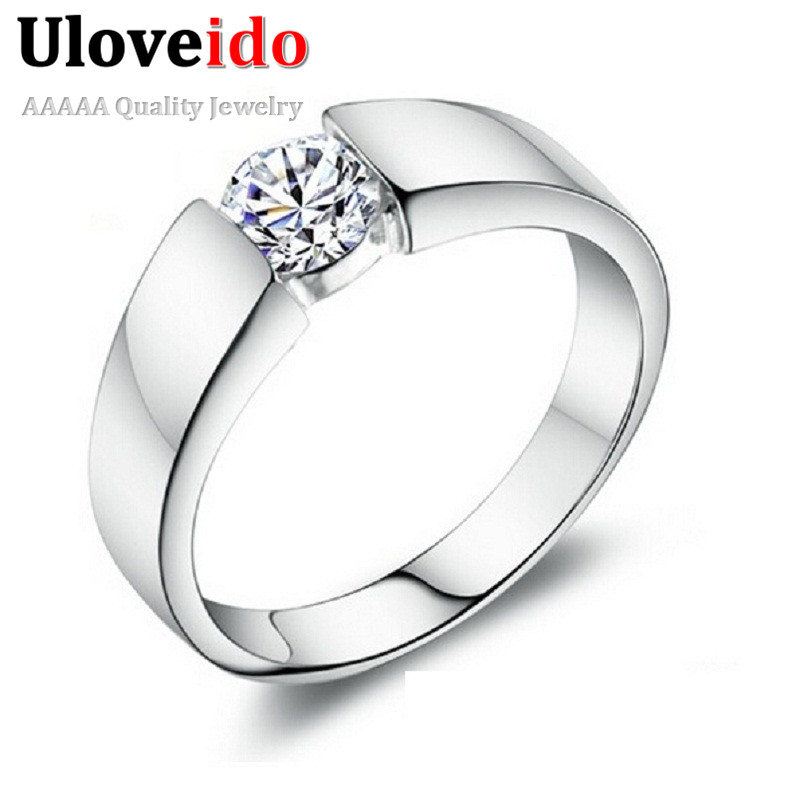 Joyas Vintage Crystal Fantasy Silver Color CZ Zircon Jewelry Ring for Men Engagement Mens Wedding Rings Red Ring Man J002