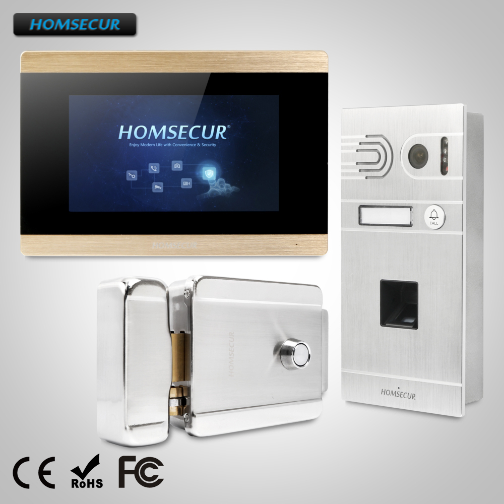 HOMSECUR 7 Wired Video&Audio Smart Doorbell+Fingerprint Camera+Memory Monitor for House/Flat  BC061-S + BM715-GHOMSECUR 7 Wired Video&Audio Smart Doorbell+Fingerprint Camera+Memory Monitor for House/Flat  BC061-S + BM715-G