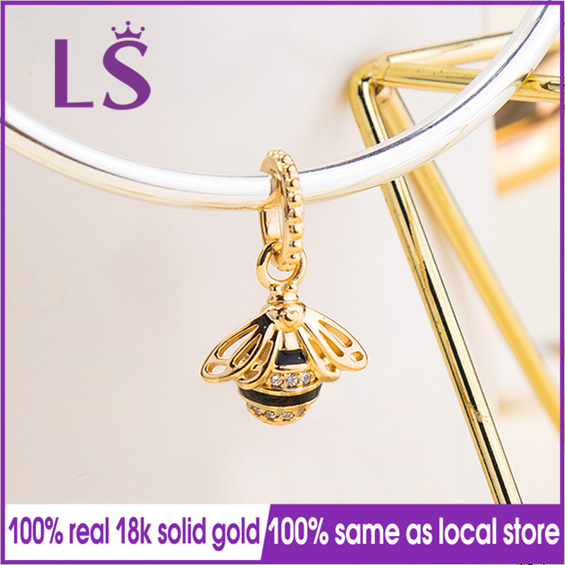 LS 100% Real Gold Black Enamel Queen Bee Pendant Charm Fit Original Bracelets Pulseira Pingente 100% Same Original.Jewlery Gifts