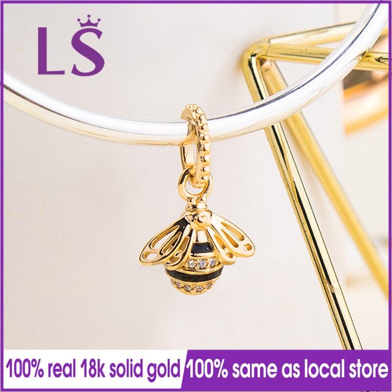 LS 100% prawdziwe złoto czarny emalia Queen Bee wisiorek urok Fit oryginalne bransoletki Pulseira Pingente 100% to samo. biżuteria prezenty w Wisiorki od Biżuteria i akcesoria na  Grupa 1
