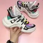 YS 920042 Platform 6CM Sneakers Geen Logo Sport Running Casual Schoenen Echte Koe Lederen Schapenvacht Binnenzool vrouwen Vulcaniseer schoenen - 2